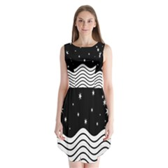 Black And White Waves And Stars Abstract Backdrop Clipart Sleeveless Chiffon Dress