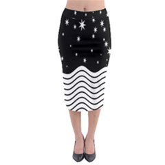 Black And White Waves And Stars Abstract Backdrop Clipart Midi Pencil Skirt