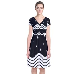 Black And White Waves And Stars Abstract Backdrop Clipart Short Sleeve Front Wrap Dress
