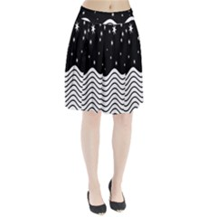 Black And White Waves And Stars Abstract Backdrop Clipart Pleated Skirt