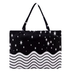 Black And White Waves And Stars Abstract Backdrop Clipart Medium Tote Bag