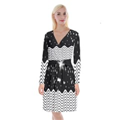 Black And White Waves And Stars Abstract Backdrop Clipart Long Sleeve Velvet Front Wrap Dress