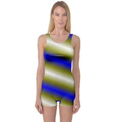 Color Diagonal Gradient Stripes One Piece Boyleg Swimsuit