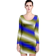 Color Diagonal Gradient Stripes Long Sleeve Bodycon Dress