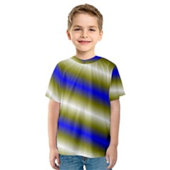 Color Diagonal Gradient Stripes Kids  Sport Mesh Tee