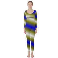 Color Diagonal Gradient Stripes Long Sleeve Catsuit