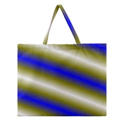 Color Diagonal Gradient Stripes Zipper Large Tote Bag