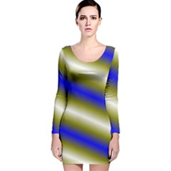 Color Diagonal Gradient Stripes Long Sleeve Velvet Bodycon Dress