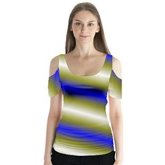 Color Diagonal Gradient Stripes Butterfly Sleeve Cutout Tee