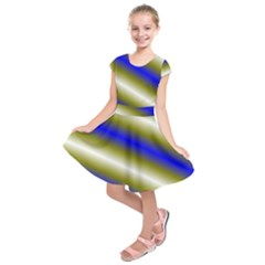 Color Diagonal Gradient Stripes Kids  Short Sleeve Dress