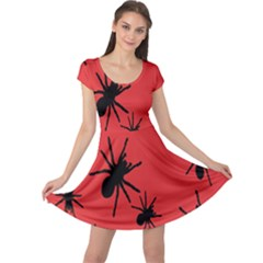 Illustration With Spiders Cap Sleeve Dresses