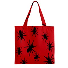 Illustration With Spiders Zipper Grocery Tote Bag