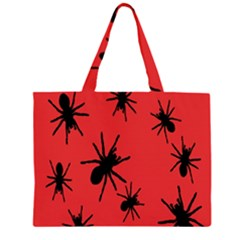 Illustration With Spiders Zipper Large Tote Bag