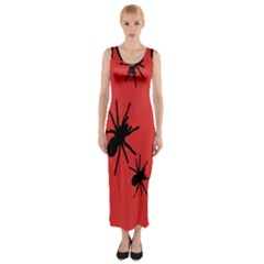 Illustration With Spiders Fitted Maxi Dress