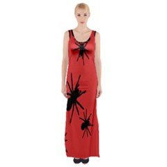 Illustration With Spiders Maxi Thigh Split Dress
