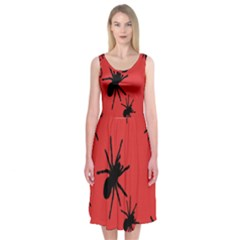 Illustration With Spiders Midi Sleeveless Dress