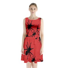 Illustration With Spiders Sleeveless Chiffon Waist Tie Dress