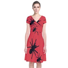 Illustration With Spiders Short Sleeve Front Wrap Dress