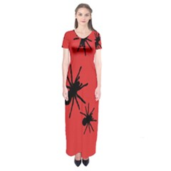 Illustration With Spiders Short Sleeve Maxi Dress