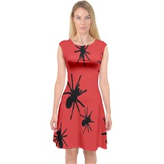 Illustration With Spiders Capsleeve Midi Dress