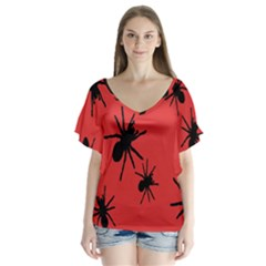 Illustration With Spiders Flutter Sleeve Top