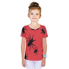 Illustration With Spiders Kids  One Piece Tee