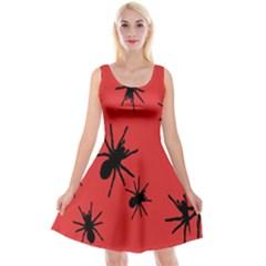 Illustration With Spiders Reversible Velvet Sleeveless Dress