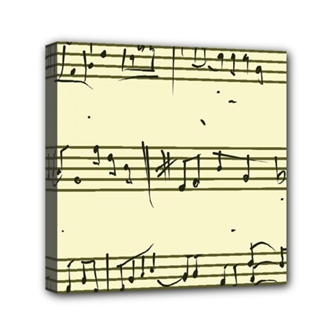 Music Notes On A Color Background Mini Canvas 6  x 6