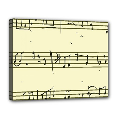 Music Notes On A Color Background Canvas 14  x 11