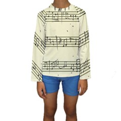 Music Notes On A Color Background Kids  Long Sleeve Swimwear
