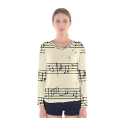 Music Notes On A Color Background Women s Long Sleeve Tee