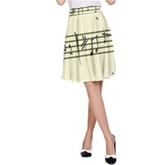 Music Notes On A Color Background A-Line Skirt