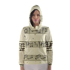 Music Notes On A Color Background Hooded Wind Breaker (women)