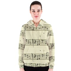 Music Notes On A Color Background Women s Zipper Hoodie