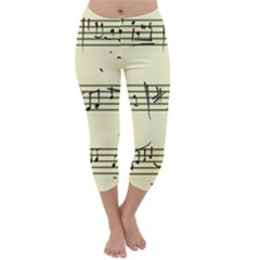 Music Notes On A Color Background Capri Winter Leggings