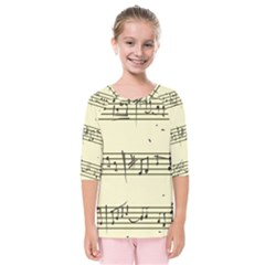 Music Notes On A Color Background Kids  Quarter Sleeve Raglan Tee