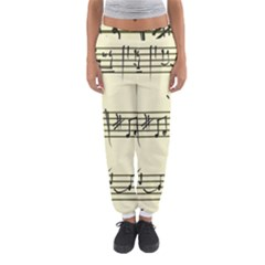 Music Notes On A Color Background Women s Jogger Sweatpants
