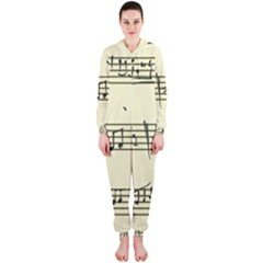 Music Notes On A Color Background Hooded Jumpsuit (Ladies)