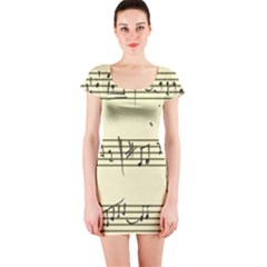 Music Notes On A Color Background Short Sleeve Bodycon Dress