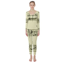 Music Notes On A Color Background Long Sleeve Catsuit