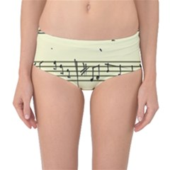 Music Notes On A Color Background Mid-Waist Bikini Bottoms