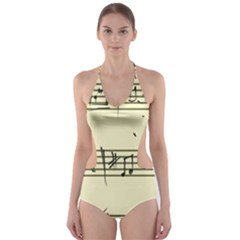 Music Notes On A Color Background Cut-Out One Piece Swimsuit