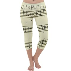 Music Notes On A Color Background Capri Yoga Leggings