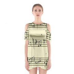 Music Notes On A Color Background Shoulder Cutout One Piece