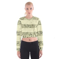 Music Notes On A Color Background Women s Cropped Sweatshirt