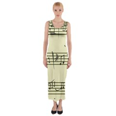 Music Notes On A Color Background Fitted Maxi Dress