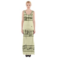 Music Notes On A Color Background Maxi Thigh Split Dress