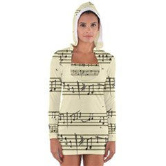 Music Notes On A Color Background Women s Long Sleeve Hooded T Shirt