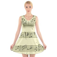 Music Notes On A Color Background V Neck Sleeveless Skater Dress