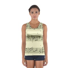 Music Notes On A Color Background Women s Sport Tank Top